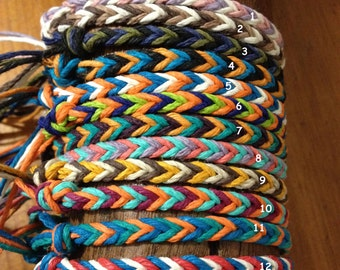 Handmade Hemp Friendship Bracelet/Anklet/Wristband - Fishtail pattern *** New Colour Combos***