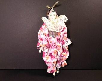 """Vintage Porcelain Harlequin Jester Clown Doll 11 1/2"""""""