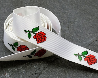 "1"" (25mm) Rose Flower Printed Ribbon by yard, TR-11598"