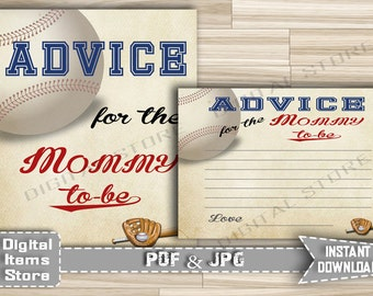 Baseball Advice For Parents To Be - Sports Advice Card Sign For Mommy To Be - Baby Shower Advice Baseball Sports - INSTANT DOWNLOAD - bb2