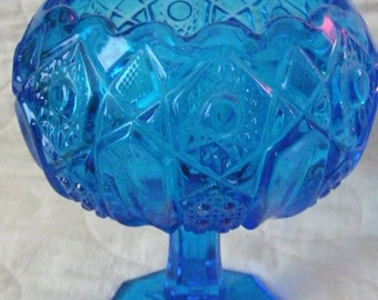 Vintage Candy Dish Blue Glass Compote Bowl Antique Compote Candy Dish
