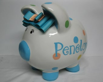 Piggy Bank, Personalized, Handpainted, Polka Dotted Piggy Banks -  MADE TO ORDER - Polka Dots with name in any Font