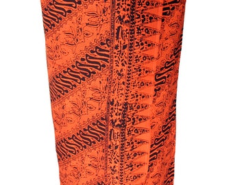 Men's Beach Sarong Tribal Spirit - Festival Clothes Sarong Wrap - Batik Pareo Burnt Orange & Brown Lavalava Beach Swimwear - Burning Man