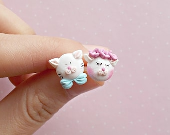 Cat Earrings - Cat Studs -  - White Cat - Cute Earrings - Cat Lover Gift - Girls Earrings - Cat Jewelry - Mothers Day Gift