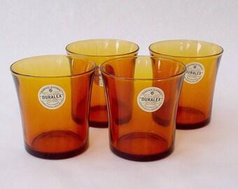 "Duralex amber glasses, 4 vintage French 1970s Duralex amber glasses, 4 verres ""Le verre trempé"" Duralex  ambre"