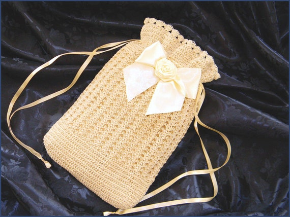 Vintage & Retro Handbags, Purses, Wallets, Bags Civil War Victorian Beige Cream Hand Crochet drawstring RETICULE PURSE with Pearls and RoseCivil War Victorian Beige Cream Hand Crochet drawstring RETICULE PURSE with Pearls and Rose  AT vintagedancer.com