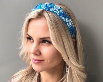 Blue wedding crown crystal crown bridal headpiece beaded headband bridal hair accessories crystal headpiece