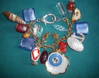 Big Chunky Charm Bracelet, Nautical Themed