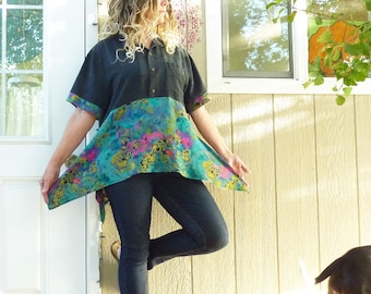 XL artsy tunic top, vintage Carole Little skirt, Monet watercolor teal, pink, silk, rayon, upcycled, lagenlook, black Hawaiian shirt
