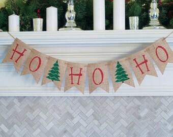 Christmas Banner, Holiday Banners, Christmas Tree Banners, Christmas Burlap Banner, Christmas Decor, Holiday Decor, Xmas banner, B428