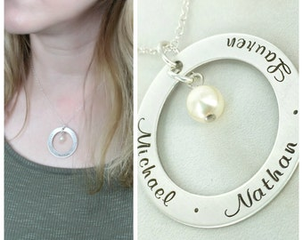 """Personalized mommy 1 1/4"""" loop necklace with birthstone crystal - Personalized Necklace - Family Name Necklace - Mother's Necklace"""