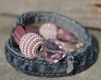Upcycled Blue Denim Wrap Bangle Bracelet with decorative Pink and White Beads - Adjustable
