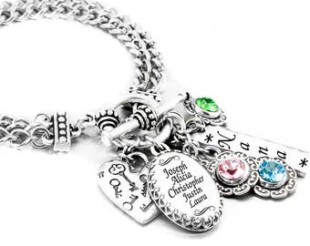 Personalized Mother's Birthstone Jewelry  - Grandmothers Jewelry - Grand Kids -  Mother's Bracelet - Grandchildren