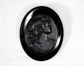 Antique Victorian Cameo Brooch; Black Glass French Jet Victorian Maiden Mourning Brooch