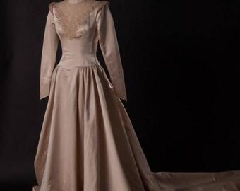Amazing Silk Wedding Gown, Vintage 1946