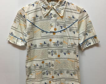Vintage 70s Mens Mordillo American Artist Cartoonist Full Print Collared Polos Tee Tops shirt