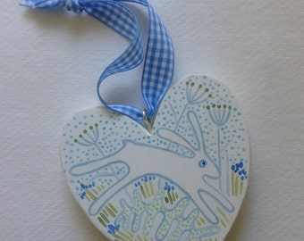Wooden heart, Easter rabbit, nursery gift