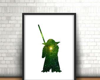 Yoda Star Wars Inspired Art Print Filled With Galaxy Nebula Space