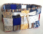 Woven Fabric Basket, Blue...