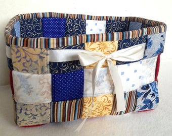 Woven Fabric Basket, Blues, Whites, Golds, Reds