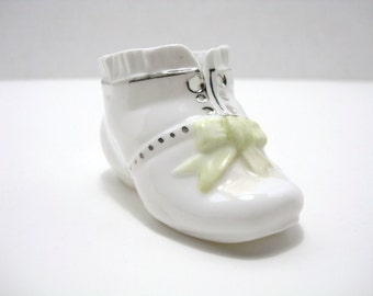 Vintage Porcelain Baby Shoe - Porcelain Green Bow Shoe - White Porcelain Shoe with Silver Trim
