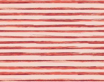 Red Coral Stripe fabric