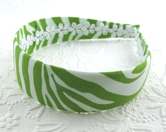 Fabric Covered Headband ~ Lime Green Zebra Animal Print Womens Adult Girls Hard Plastic Fabric Covered Headband