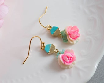 Japanese Vintage Rose Flower Dangle Earrings Hexagon Turquoise Green Stone Connector Unique Floral Modern Ear Jewelry