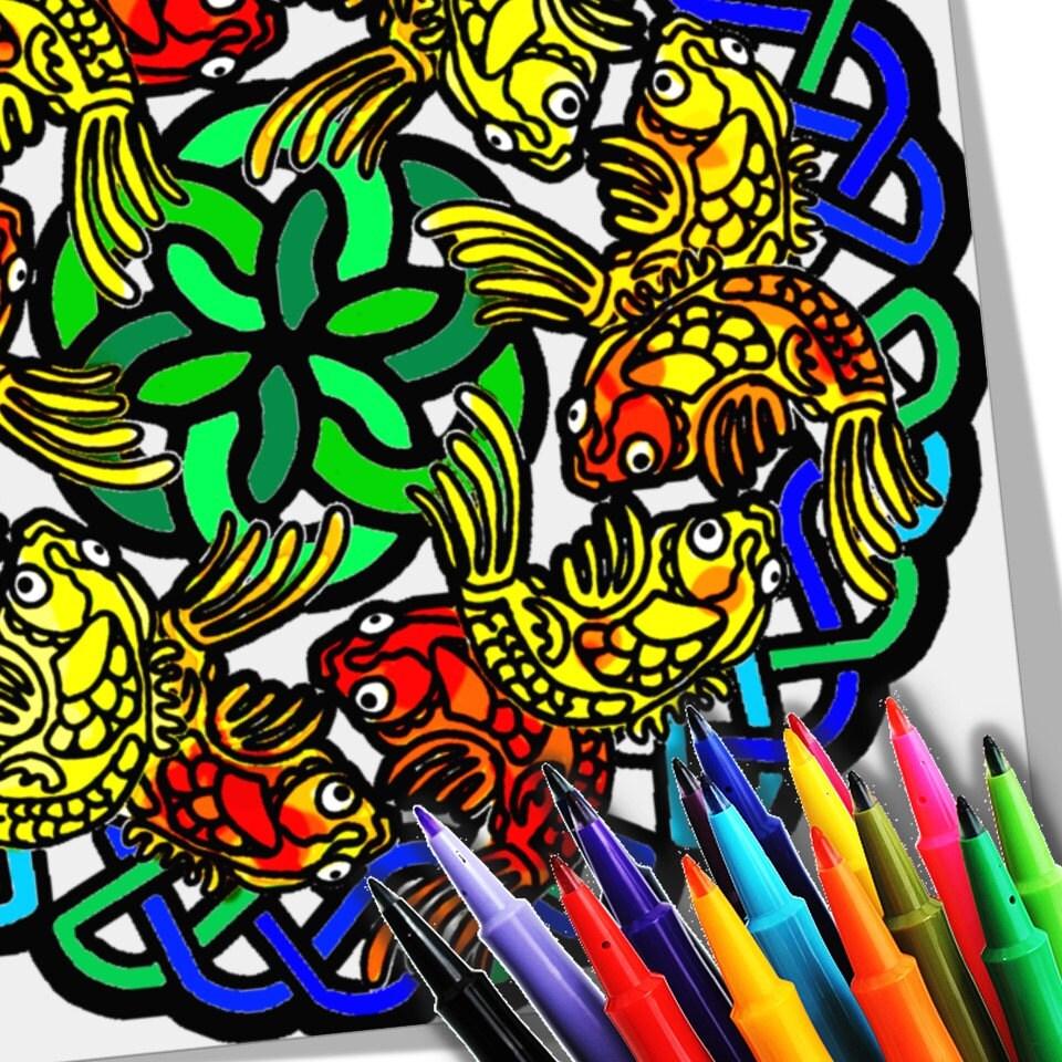 Koi Fish Mandala Coloring Page Printable Download