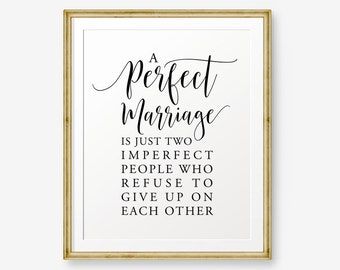 Marriage quote etsy a perfect marriage wedding gift house warming gift love quote inspirational marriage junglespirit Image collections