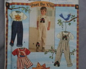 Vintage Simplicity 7088 Child's Pants, Overalls and Tops. Overalls in Two Lengths, Pull-On Pants, Patch Back Pocket.  2-3-4