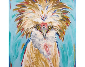 Chicken canvas art, Polish chicken decor. Rooster on canvas.  Chicken print from original canvas painting.