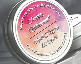 12 Retirement Mint Tins -RetireMints - Watercolor - Retirement Favors - Retirement Decor - Retirement Mints - Retired Mints - Pink