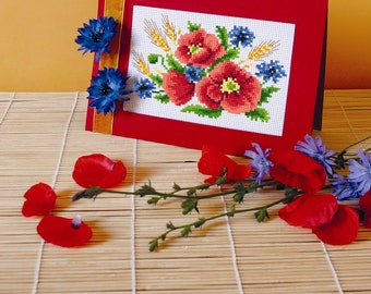 Poppies with cornflowers Stitch Pattern, Digital  Pdf ,Graphics Counted Cross Stitch pattern in PDF  format, Painting,  Easy