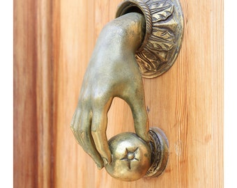 door knocker art print, brass door knocker print, Barcelona Spain, foyer decor, travel photography, Spain home decor, fine art photography