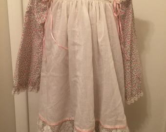 Vintage Bryan Girl Apron Pinafore Dress Sz 5 Pink Flowers