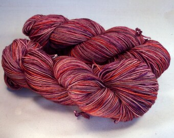 Fall Reds on Lolo 75/25 SW Merino Nylon Hand dyed fingering weight sock yarn