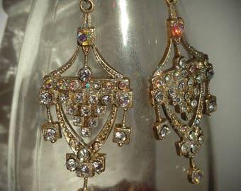 Sparkling Parisan Art Nouveau Dazzling Courtesan Rhinestone Earrings