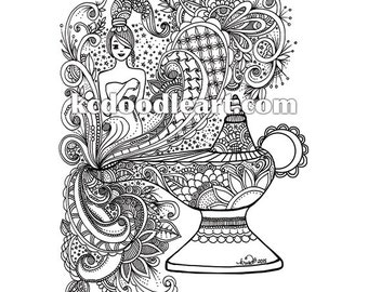 instant digital download - adult coloring page - genie doodle