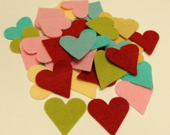Wool Hearts Wool Felt Blend Die Cut Hearts- U Choose Color and Quantity Mix and Match
