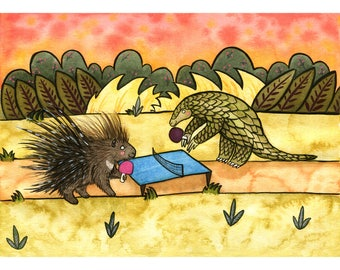 Pangolin and Porcupine Playing Ping Pong  - Watercolor and Ink - Nursery Art - Endangered Species