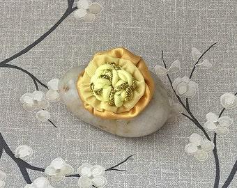 Wedding Boutineers Lapel Pin Buttonhole Mens Flower Brooch, Grecian Style Fabric Flower Corsage - handmade gold cream lemon UK