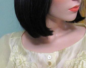 60s Nylon & Satin Yellow Negligee Peignoir Dressing Gown Robe Vintage