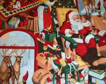 1 YARD Quilt Cotton Fabric ~ Alexander Henry Christmas 2013 100 North Pole Lane Santa Claus