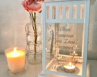 Memorial Lantern Light, Candle in Remembrance - Wedding Loved Ones Lantern - Memorial Wedding Sign