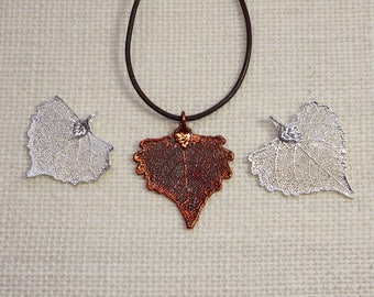 SALE Leaf Necklace, Silver Cottonwood Leaf, Silver Leaf, Real Leaf Necklace, Copper Leaf, Boho Necklace, Silver Leaf Pendant, SALE156