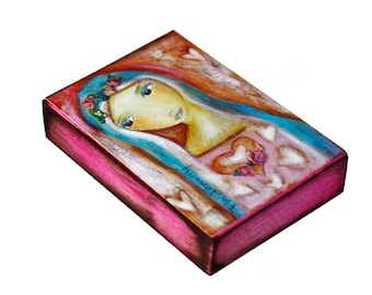 Heart of Mercy - Aceo Giclee print mounted on Wood (2.5 x 3.5 inches) Folk Art  by FLOR LARIOS