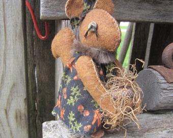 SQUIRREL DOLL~ Made To Order~ Shelf Sitter~ Rag Art Doll~ Folk Art~ Squirrel Collector~ Woodland~ Squirrel~ Nursery Decor~