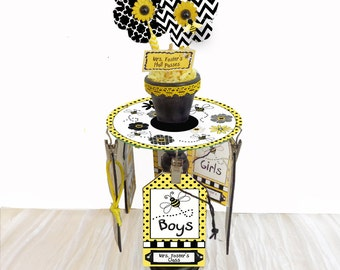 Teacher Gift Personalized Desktop Hall Pass Carousel Bumblebees & Flowers