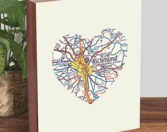 Richmond Virginia, Richmond VA Art, Richmond Map - Wood Block Art Print